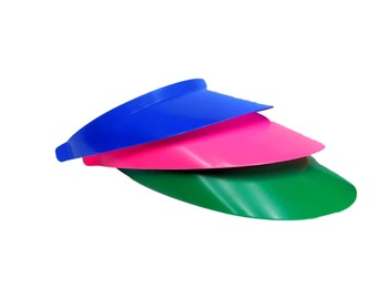 3 Plastic Sun Visor, 1 each Blue, Pink and Green.  Made in the USA.
