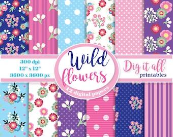 Spring flower digital paper pack Floral scrapbook paper Mothers day digital paper retro background pattern bright blue pink Summer paper