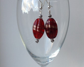 Red lampwork glass earrings