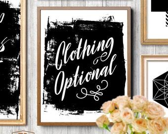 "Bedroom printable art bedroom digital download instant download printable bedroom wall art bedroom quote ""Clothing Optional"" print"