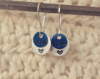 Handstamped Customizable Initial Earrings w/ Heart