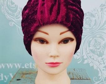 Handmade Vintage Retro Turban in Wine Crushed Velvet