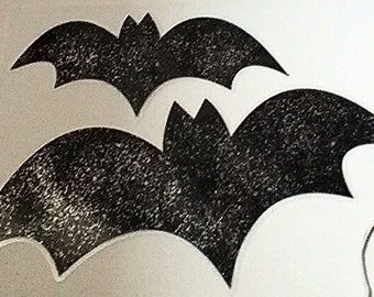 Laminated black bats with silver glitter, set of 5