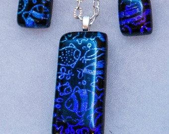Sealife dichroic pendant - earring set