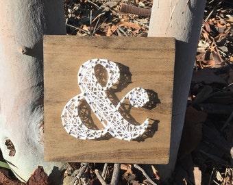 Ampersand string art, String Art Ampersand, Ampersand, Wood Art, Gallery Wall, Custom String Art