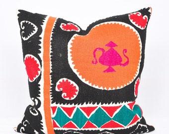 Black Orange Suzani Pillow Cover-Throw Suzani Pillow -Suzani Pillows-Suzani Cushion-Designer Suzani Pillow-Vintage Suzani pillow