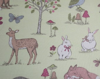 Woodland Animals - Lime fabric