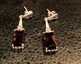Marcasite drop earrings with smokey quartz stone