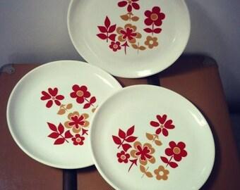 dessert-motif plates floral 70s-france-1970 English dessert plates