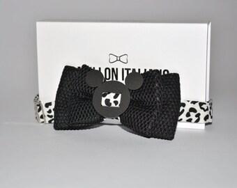 Papillon Italian Handmade 100% Mouse Black Plexiglass-Made in Italy-Bowtie