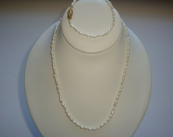 Fresh Water Pearl Necklace and Bracelet Set