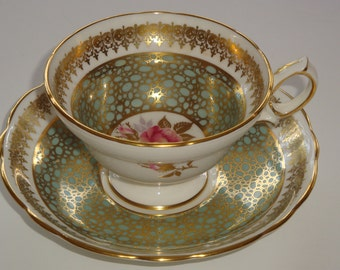 Hammersley & Co. England Sage Gold and Pink Rose Cup and Saucer
