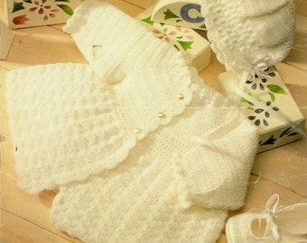 Instant Download - PDF Crochet Pattern for a Babies Matinee Coat & Bonnet