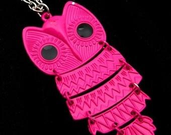Owl Pendant Necklace Neon Pink Fuchsia