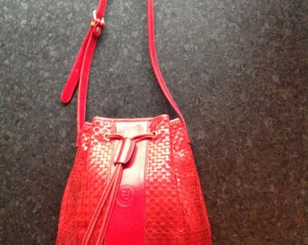 Fendi red leather woven shoulder bag