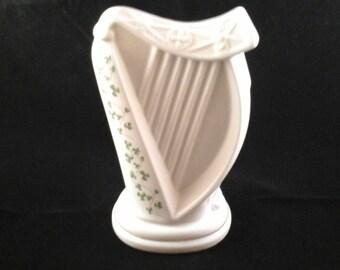 Tara Fine Bone China Made in Galway Ireland Harp St. Patrick Figurine Shamrocks