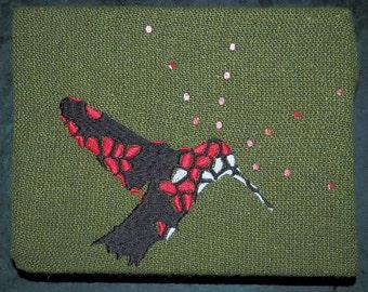 Hummingbird Embroidery on Wool Artwork