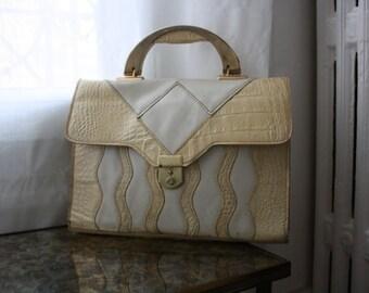 Vintage little satchel bag snakeskin - small handbag style satchel snake