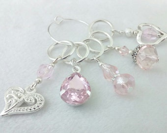 Pink Stitch Markers -  mixed glass beaded stitch markers - delicate pink  crochet markers
