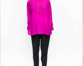 Silk Kurta Top, burgandy/yello/blue