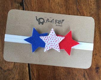 4th of July Headband - Red, White, & Blue Headband - Stars Headband