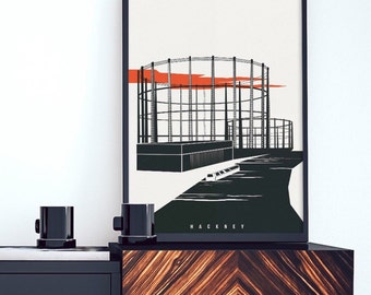 London Skyline: The Industrial Skeletons- Illustrated poster, Matte and Giclee Art Prints of London in A3 or A2 sizes. Wall Art, Hackney