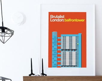 Brutalist London: Balfron Tower- Illustrated poster, Matte and Giclee Art Prints in A3 or A2 sizes. Wall Art, Home Decor, Prints of London