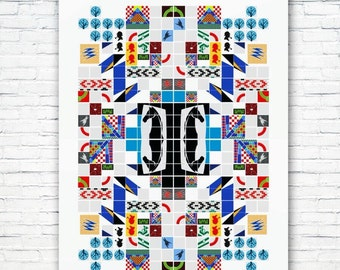 Subway Tiles, Art of London Underground: A graphic tapestry. Illustration poster, Matte or Giclee Art Prints. Wall Art. Prints of London