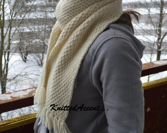 Long Knit Scarf, Long Scarf, Off White Scarf, Winter Scarf, Long White Scarf, Hand Knit Long Scarf, Women Scarf.