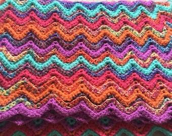 Handmade Crocheted Ripple Blanket