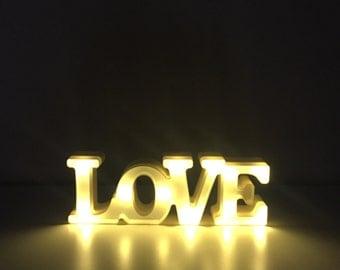 """Love LED lights 12"""" white"""