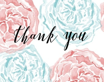 "Pink and Blue Floral Watercolor Printable ""Thank You"" Cards"