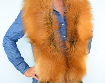 Spectacular Glamorous Golden Island Fox Fur Shoulders Wrap Collar Boa With Tails
