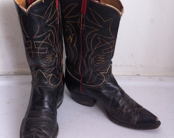 Black old vintage western cowboy boots , men's size 10 EE, made in USA.