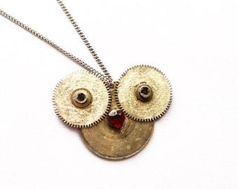 Smile - Garnet nose Clock face Necklace
