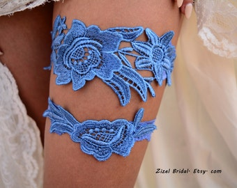 Blue Wedding Garter, Bridal Garter, Wedding Garter Set, Garter Set, Wedding Clothing, Blue Garter, Blue Lace Garter, Handmade Garter, Garter