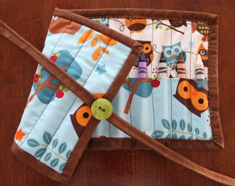 Animal Crayon Roll, Owl Crayon Holder, Blue Crayon Roll Up, Crayon Tote, Hooty Hoot, Brown, White, Blue, Animals, Gender Neutral, Art