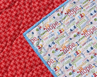 Reversible Baby Quilt, Pieces of Hope, Red Puzzle Quilt, Whole Cloth Quilt, Handmade Quilted Blanket, Red Blue Green White, Gender Neutral