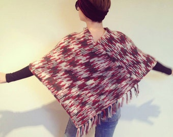 Poncho with the fringe, women knitwear, women ponchos, spring trend, poncho wrap,gift for her, handmade, knitting,