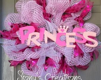 Princess wreath, pink deco mesh wreath