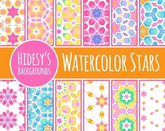 Stars Watercolor Digital Paper // Starry Water Color Hand Painted Scrapbooking Paper // Digital Scrapbooking Paper