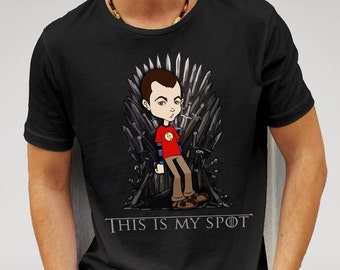 Sheldon Cooper sat on the Iron Throne LOL Crossover tee inspired by the The Big Bang Theory and Game of Thrones TV Series Gift Idea