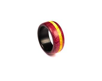Natural wood ring - Organic ring - Wooden band - Purpleheart wood ring - Anniversary ring