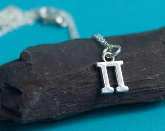Pi Necklace, pi jewelry, math jewelry, pi pendant, math, math gift, science jewelry, pi symbol, math teacher gift, pi symbol necklace, geek