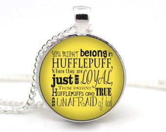Hufflepuff Necklace, Harry Potter Jewelry, JK Rowling, Hogwarts House, Harry Potter Necklace, Hufflepuff Quote, Book Jewelry #2