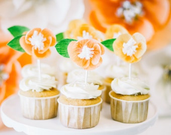 Peaches & Blossom Crepe Flower Toppers Set