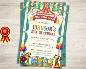 Carnival Invitation, Circus Invitation, Carnival 5th Birthday Invitation, Circus Birthday Invitation, Carnival Invite, Circus Invite