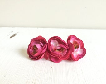 Bright Pink Floral Clip, Pink Floral Hair Clip, Flower Hair Clip, Silk Flower Hair Clip, Artificial Flower Hair Clip, Bright Pink Hair Clip