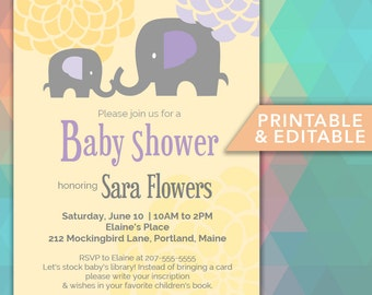 Editable Elephant Baby Shower Invitation PDF postcard