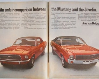 1967 Ford Mustang ad. 1968 Javelin SST ad.  Compares the 1967 Ford Mustang to 1968 Javelin SST.   Life Magazine.  Sept 29, 1967.